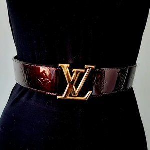 Louis Vuitton Vernis burgundy belt 40mm